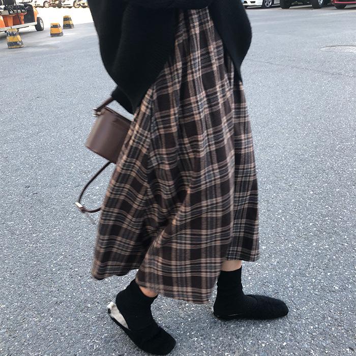 2020年春物新作 韓国風チェック柄ロングスカート