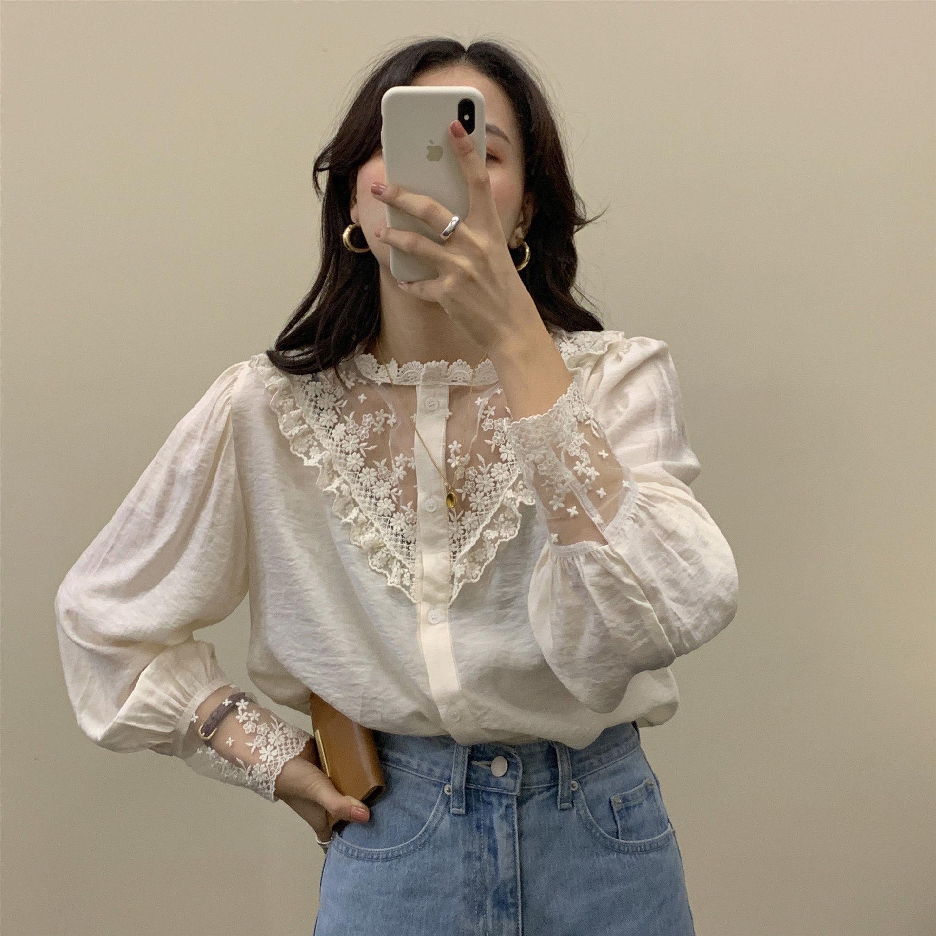 2020年春新作 オシャレな ファッション シフォンのシャツ
