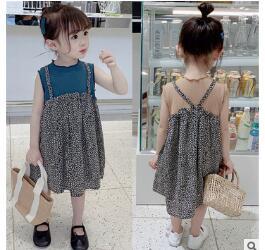 韓国ファッション 韓国子供服 ワンピース 2020春夏新作 子供服 ワンピース 7-15 2色