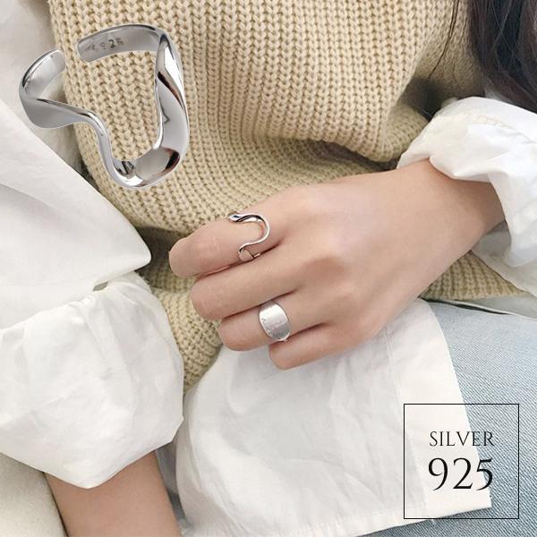 【即納】★2020春夏新作★1色 シルバー925 モダンシルバーウェーブオープンリング指輪 [kgf0734]