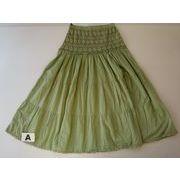 フリーサイズ、ウエストレース。涼しい春夏スカート、綿3色!5445