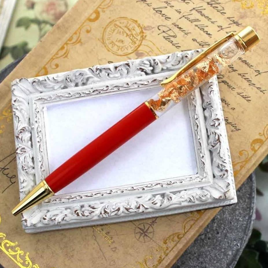 金箔入りボールペン ゴールド レッド 赤 筆記用具 黒インク 開運 記念日 イベント 品番:9770
