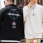 【2020春夏新作】ユニセックス デコレーション ハーフジップ スウェット トレーナー プリント 刺繍