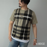 【2020新作】 Tシャツ メンズ 半袖 チェック柄 プリント ネックレス付き クルーネック 丸首 半袖Tシャツ