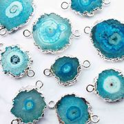 デコパーツ ドゥルージー ソーラークォーツ 瑪瑙 メノウ めのう 水晶 ブルー 青 品番:10229