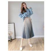 Aラインスカート プリーツスカート クラーデション 体型カバー お洒落 可愛い きれいめ 通勤ブルー