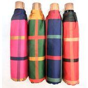 【日本製】【折りたたみ傘】甲州産先染朱子格子生地日本製大寸丸ミニ折畳傘