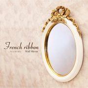 French Ribbon フレンチリボン ウ ォールミラー(Antique Whiteオーバル)♪