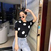 春服 年 新しいデザイン 韓国風 ポルカドット 半袖Tシャツ 女性のセーター 着やせ 何