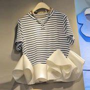 韓国ファッション新品 Tシャツ レディース カジュアルフリル裾 夏