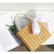 韓国の人気爆発  手織りバッグ 夏 ハンドバッグ  真珠 ストローバッグ 怠惰な風 ミニ 竹製バッグ