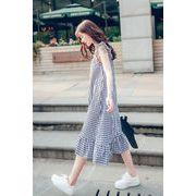韓国ファッション フリルノースリーブ オシャレワンピース レディース夏