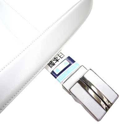 日本製 紳士 ビジネスベルト 35mm FIT フェザー 白