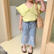 デニム ズボン キッズ ズボン 夏 韓国子供服 2020新作 セール ファッション 動画あり
