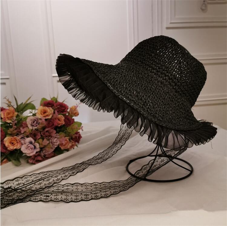 韓国ファッション トレンド 麦わら帽子 レース ストラップ 防風 折りたたみ式 大きなつばの帽子