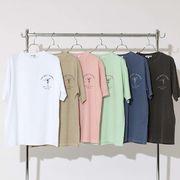 【2020春夏新作】ユニセックス ピグメント加工 プリント 半袖Tシャツ