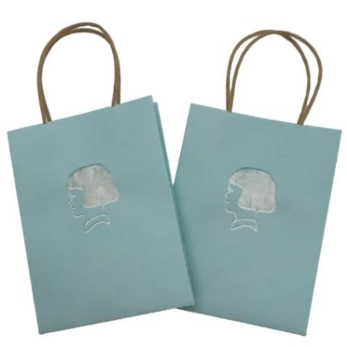 【ラッピング用品】オトナ女子の気くばり文具 ミニ手提げ紙袋2枚セット 青磁 ますこえり