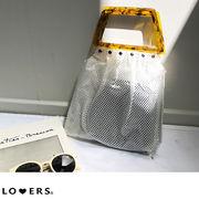 鼈甲ハンドルpvcバッグ 【即納】 バッグ レディース クリアバッグ PVCバッグ PVC素材 シンプル