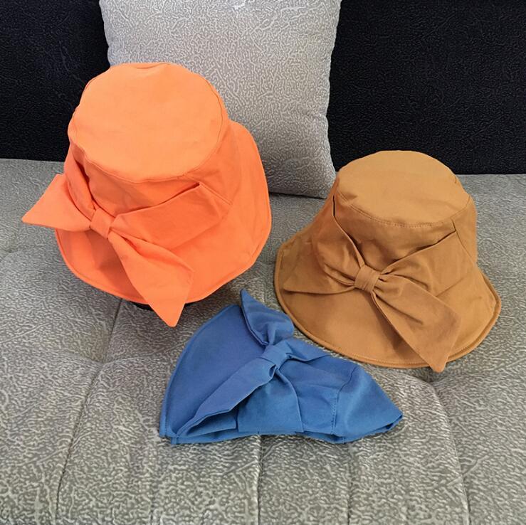 宝来商事 韓国ファッション純色弓帽子 つば広帽子 中折れ帽  UVカットレディース
