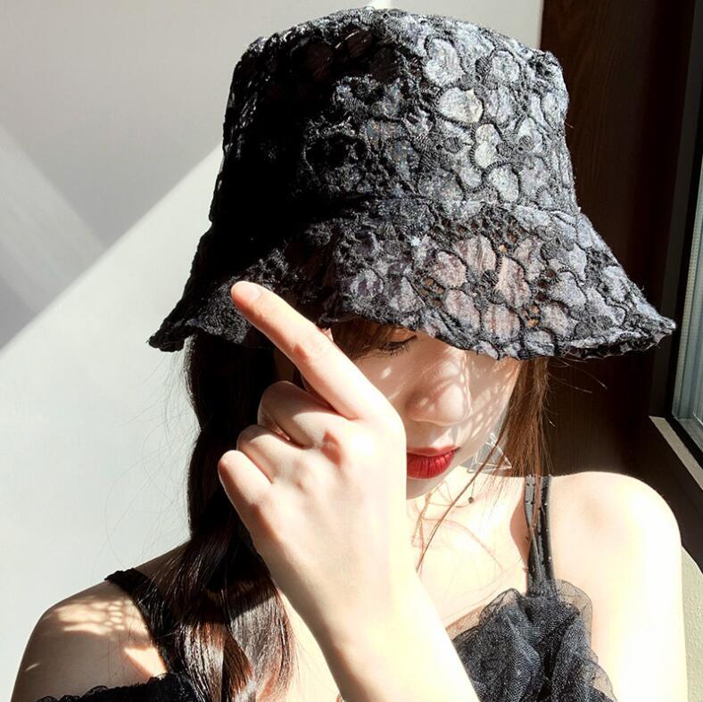 宝来商事 韓国chic中折れ帽  レトロつば広帽子 UVカットレディース レース帽子