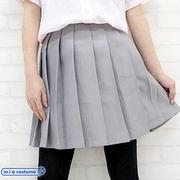1211D■MB■送料無料■ 無地プリーツスカート 色:グレー サイズ:M/BIG