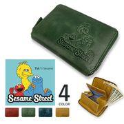 【全4色】SESAME STREET セサミストリート リアルレザー ラウンドファスナー 2つ折り財布
