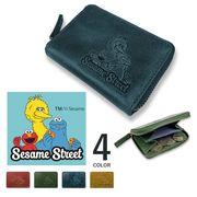 【全4色】SESAME STREET セサミストリート リアルレザー ラウンドファスナー コインケース 小銭入れ