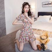 花柄ワンピース カシュクール 裾フレア Aラインワンピース