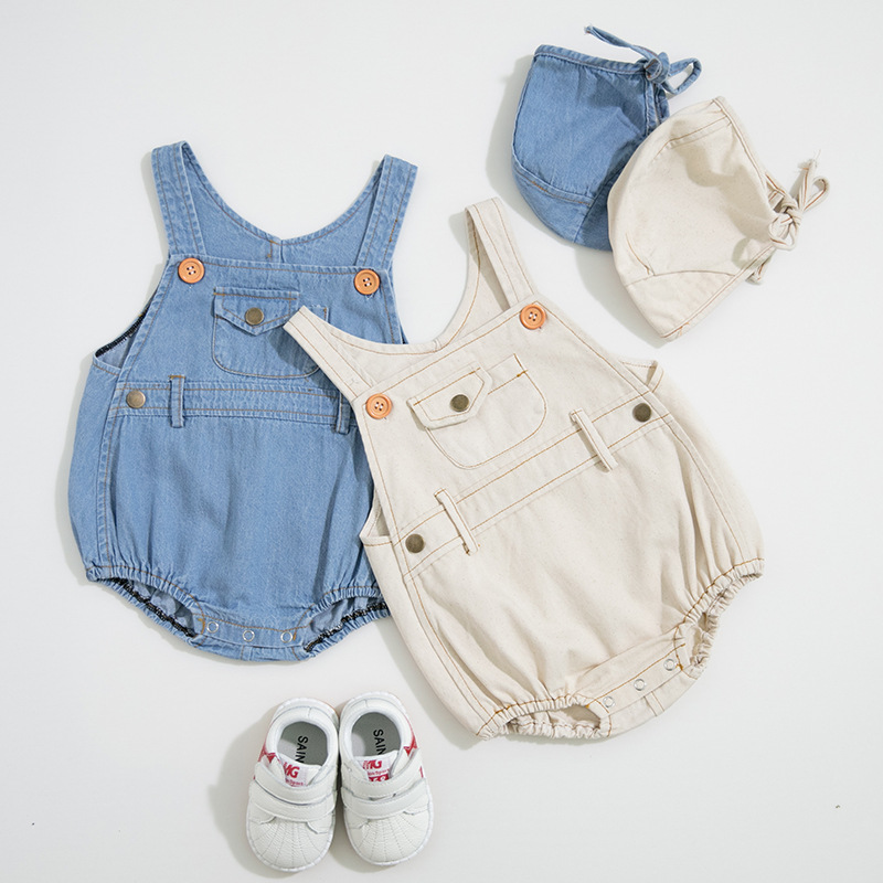 ベビー服 ジャンプスーツ オーバーオール帽子2点セット 新生児服 赤ちゃん服  綿