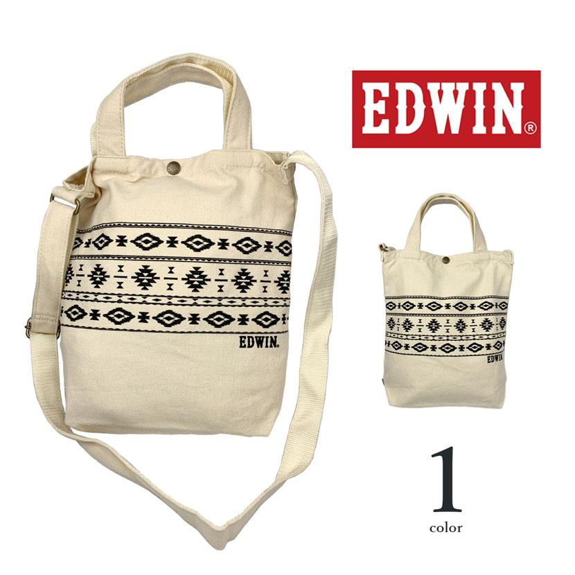 全1色 EDWIN エドウイン 2WAY オルテガ柄 ショルダーバッグ トートバッグ