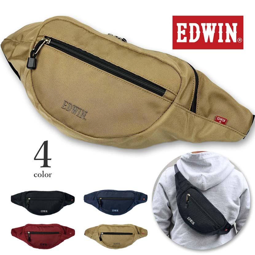 全4色 EDWIN エドウイン ロゴ刺繍 ウエストポーチ ボディバッグ ワンショルダー
