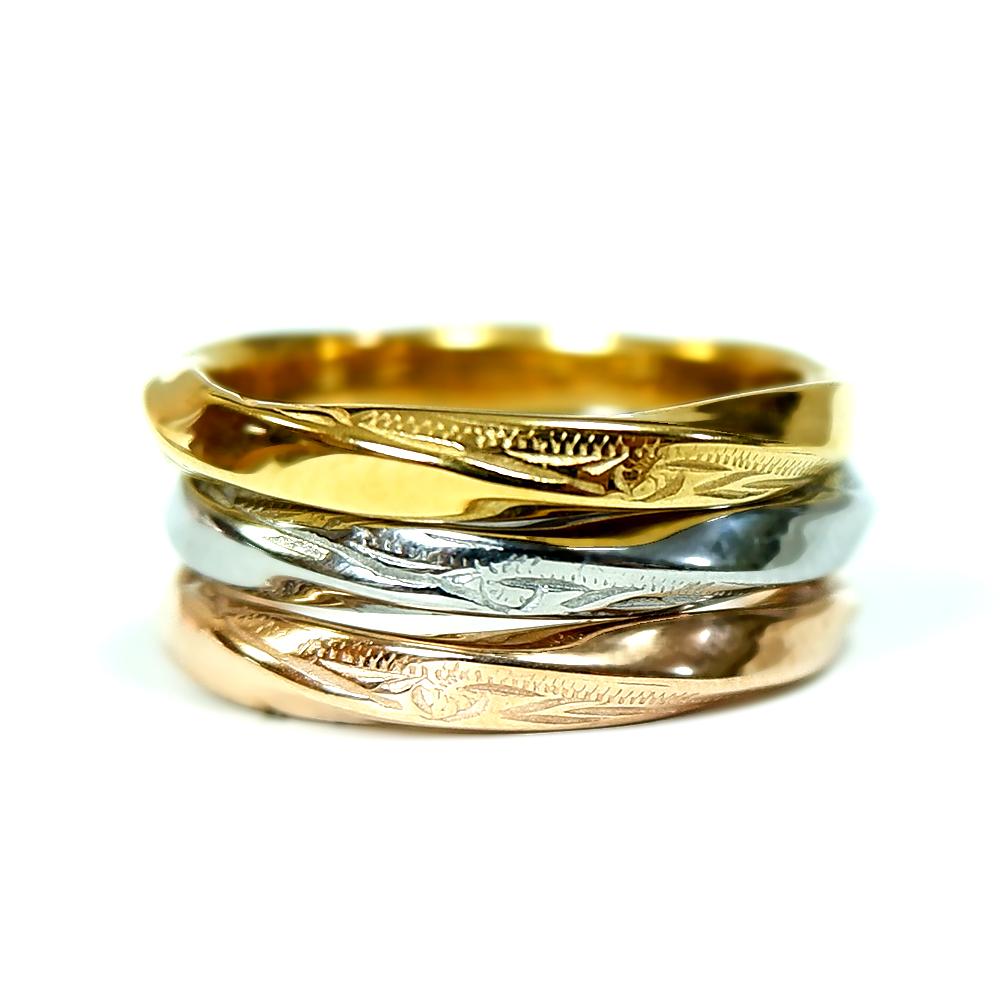 ※数量限定  ハワイアンジュエリー 指輪 リング ツイスト 捻じれ 重ね着け サージカル ステンレス