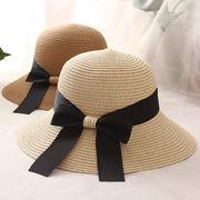 新品  草編み帽子 折畳み サンバイザー 麦わら帽子 リボン付き ビーチハット UV対策 日焼け止め
