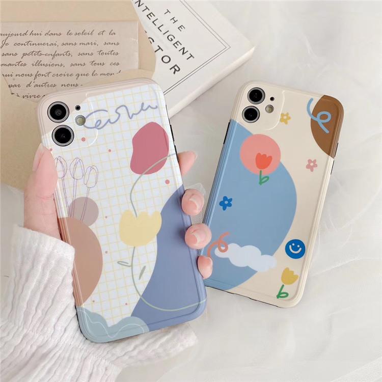 花柄 iPhone XRケース iPhone8カバー チェック アイフォーンケース