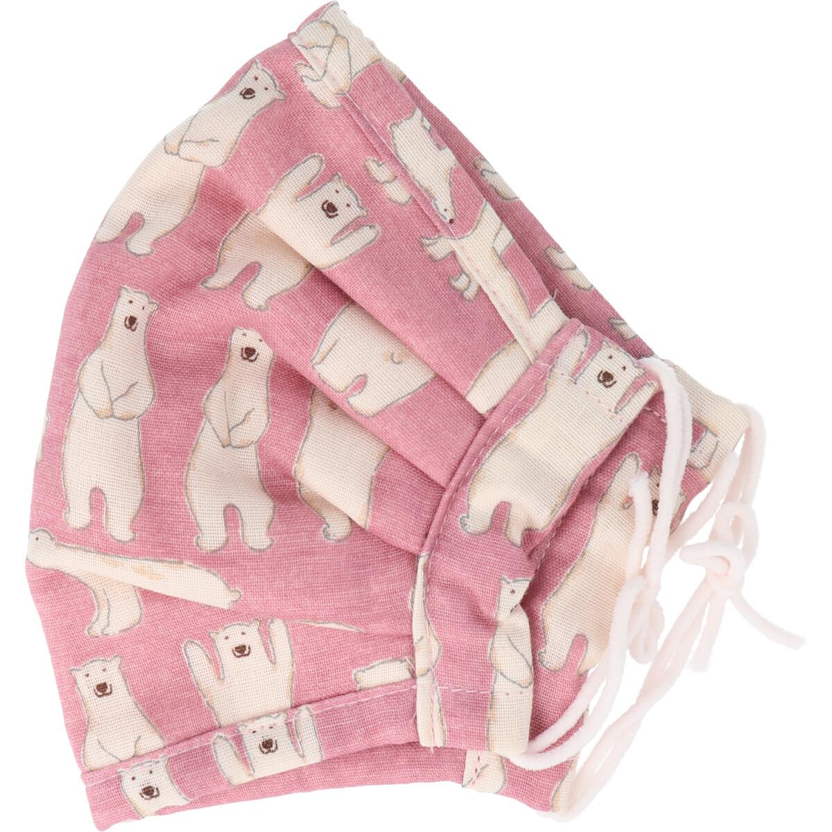 ふわふわマスク 今治産タオル 超敏感肌用 白くま ピンク ゆったり大きめサイズ 1枚入