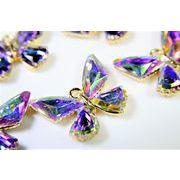 【春夏アクセサリー】大型蝶々チャーム(A級ガラスパーツ使用)/グラデーションカラー/トレンドパーツ