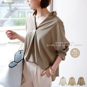 【L-6】ワイヤー襟 オーバーサイズ スキッパー シャツ