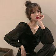新しいデザイン 韓国風 秋 気質Vネック 引きひも 折り畳む ベルベット + 短いスタイ