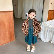 秋冬新作 フワフワコート 女の子 豹柄 80-130 厚手 子供服 キッズ コート