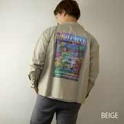 【2020新作】 シャツ メンズ 長袖 バックプリント オープンカラー 開襟 ビッグシルエット オーバーシャツ