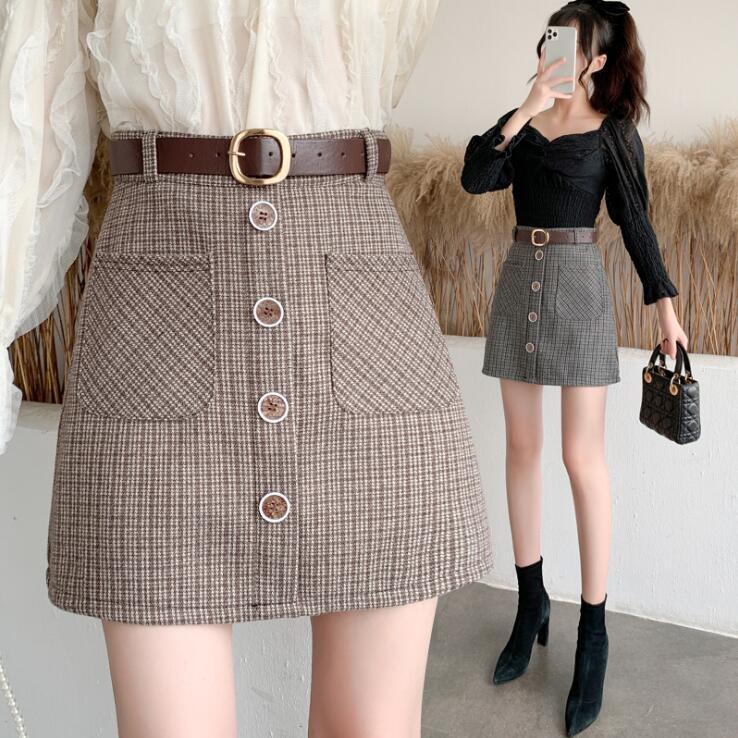 Aラインスカート ミニスカート ベルト付き チェック柄