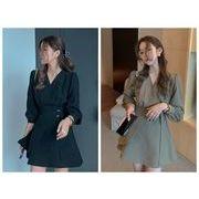 ワンピース レディースファッション 韓国スタイル ins スッキリウェストライン 無地 Aラインスカート