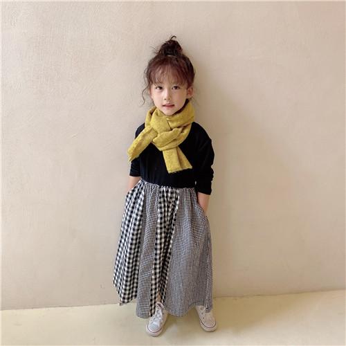 m16114 ワンピース 親子服 チェック カジュアル  女の子 秋冬新作 SALE 韓国子供服