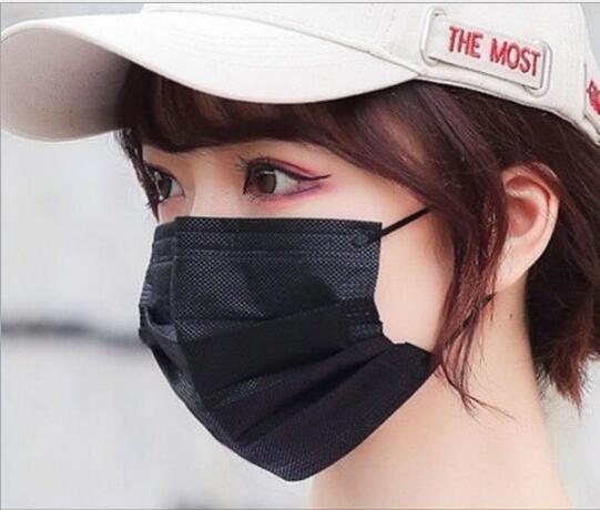 秋冬マスク 使い捨てマスク 黒3層 メルトブローン布 ノーズストリップ 保護 マスク50枚入り