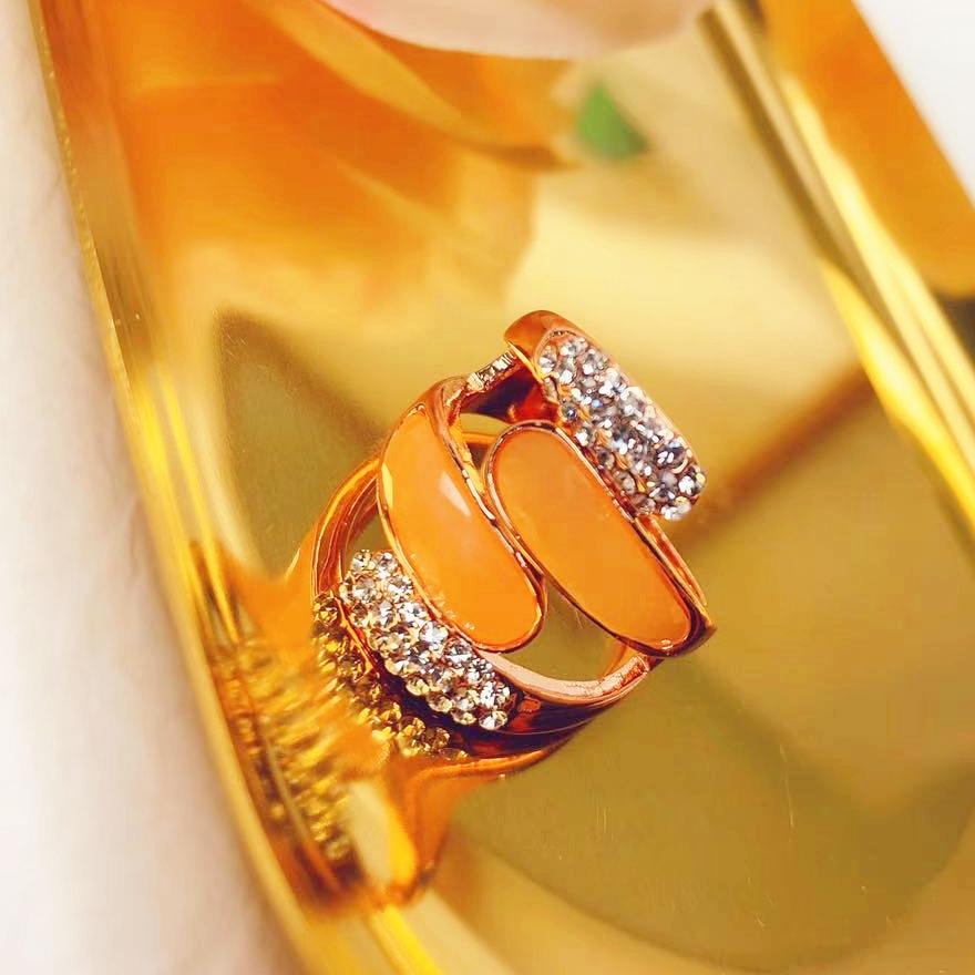 即納 上品 リング 指輪 ピンクゴールドメッキ ラインストー インスタ