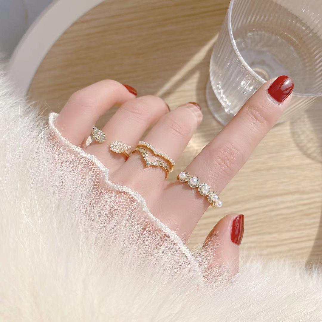 即納 国内検品発送 フリーサイズ  リング 指輪 開口指輪 ゴールドメッキ パール ジルコニア