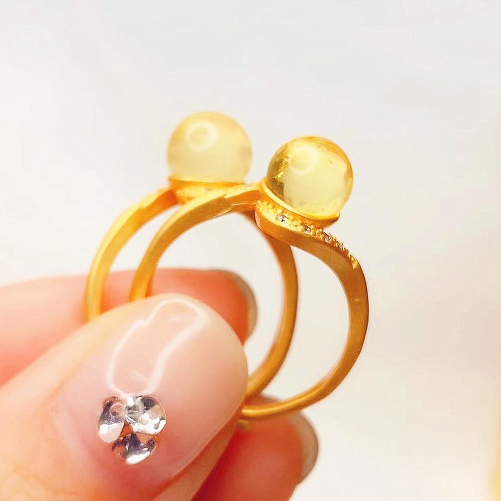 即納 お得 上品 天然石 アンバー 琥珀   リング 指輪 開口指輪