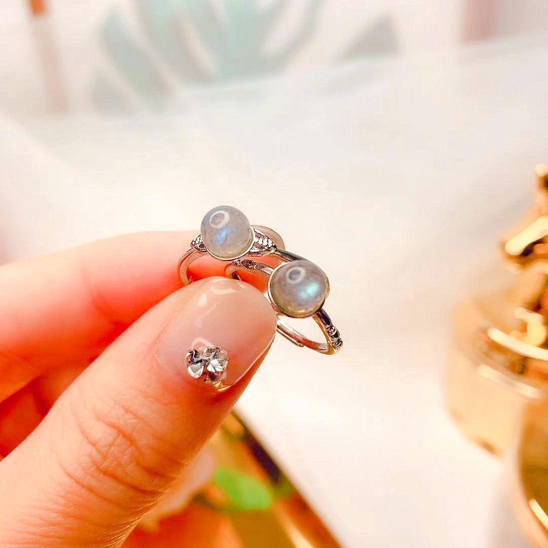 即納 お得 上品 天然石 ラブラドライト リング 指輪 開口指輪