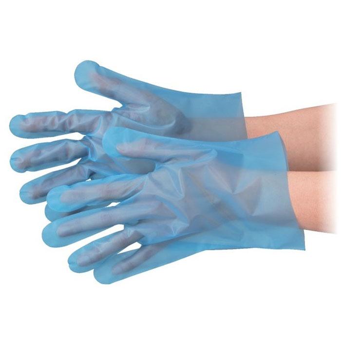 ポNo.3003 エブケアエンボス25 食品衛生法適合 使い捨て手袋ブルー Mサイズ 袋入 100枚入