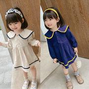 秋冬新作 韓国子供服 3-8歳女の子 ワンピース 長袖 秋ワンピ セーラー服 シャツドレス 7-15